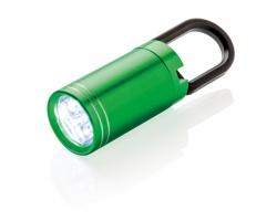 Hliníková LED svítilna ACCROACH s poutkem - zelená / černá