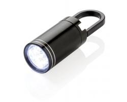 Hliníková LED svítilna ACCROACH s poutkem - černá / černá