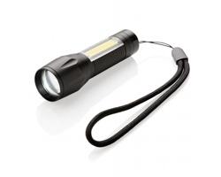 Hliníková LED svítilna SURDS se 3 režimy svícení - černá