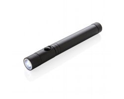 Hliníkové teleskopické LED světlo SKIMS s magnetem - černá