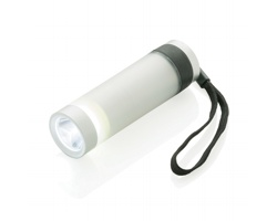 Hliníková LED svítilna LOBE s textilním poutkem, 2v1 - stříbrná