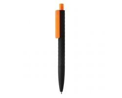 Plastové kuličkové pero DOSED s diamantovým vzorem - oranžová / černá