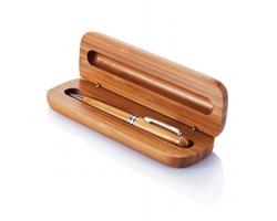Bambusové pero SHAG v krabičce - hnědá / stříbrná