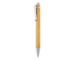 Bambusové kuličkové pero DONNY s klipem - hnědá / stříbrná