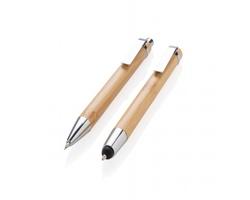 Sada bambusových psacích potřeb LETT se stylusem - hnědá