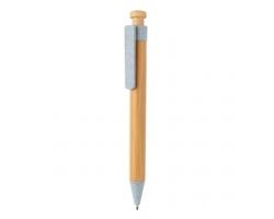 Bambusové kuličkové pero LIBS s klipem z pšeničné slámy - modrá