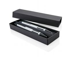 Elegantní sada kovového kuličkového pera se stylusem a mikrotužky SPRINGS v pouzdře - stříbrná