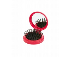 Plastový skládací kartáč na vlasy GLANCE se zrcátkem - červená