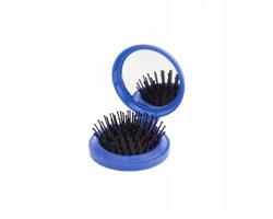Plastový skládací kartáč na vlasy GLANCE se zrcátkem - modrá
