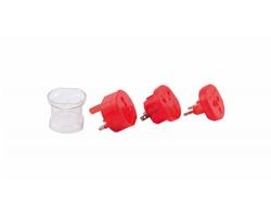 Plastový cestovní adaptér JETLAG - červená