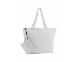 Polyesterová plážová taška MONKEY s kosmetickou taštičkou - bílá