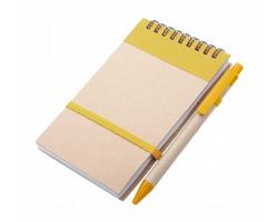 Poznámkový blok s kuličkovým perem ECOCARD z recyklovaného papíru - žlutá / přírodní