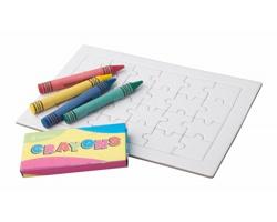 Papírové puzzle ZETA s voskovkami - bílá