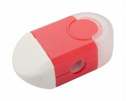 Plastové ořezávátko CAFEY s mazací gumou - červená / bílá