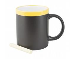 Keramický hrnek COLORFUL s povrchem pro psaní křídou, 350 ml - černá / žlutá