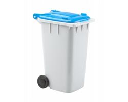 Plastový stojánek na psací potřeby DUSTBIN ve tvaru popelnice - šedá / modrá