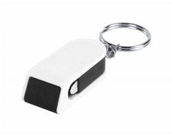 Plastový přívěsek na klíče SATARI se stojánkem na mobil - bílá / černá