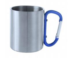 Kovový hrnek BASTIC s karabinou místo ucha, 200 ml - modrá / stříbrná