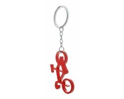 Kovový přívěsek na klíče CICLEX ve tvaru bicyklu - červená