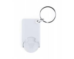 Plastový přívěsek na klíče ZABAX s žetonem do vozíků - bílá