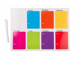 Magnet na ledničku NIETIX s týdenním kalendářem - vícebarevná