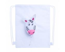 Dětský šňůrkový batoh KISSA s pouzdrem s motivem zvířátka - bílá