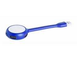 Plastový USB hub TICARO s lampičkou - modrá