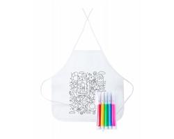 Dětská kuchařská zástěra TIZY s fixy na vybarvení - bílá
