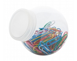 Kancelářské sponky na papír RHYDOR v plastové nádobě - vícebarevná / transparentní