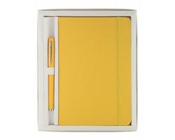 Sada kuličkového pera a poznámkového bloku MARDEN - žlutá