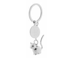 Kovový přívěsek na klíče HOINZO s žetonem - kočka