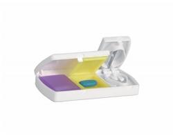 Plastový box na léky ASPI s řezákem na pilulky - bílá