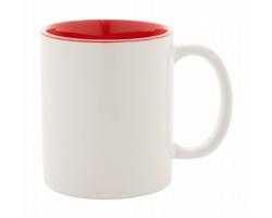 Keramický hrnek LOOM s barevným vnitřkem, 350 ml - bílá / červená