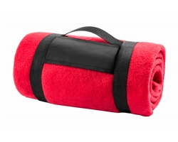 Fleecová deka MOUNTAIN s popruhem - červená