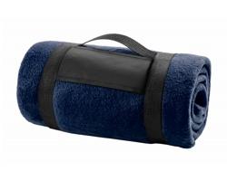 Fleecová deka MOUNTAIN s popruhem - tmavě modrá