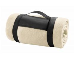 Fleecová deka MOUNTAIN s popruhem - béžová