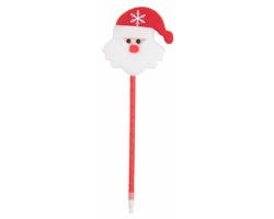 Plastové kuličkové pero TIDIL s vánoční figurkou - červená / bílá