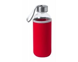 Skleněná sportovní lahev DOKATH s neoprenovým obalem, 400 ml - červená