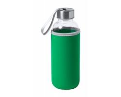 Skleněná sportovní lahev DOKATH s neoprenovým obalem, 400 ml - zelená