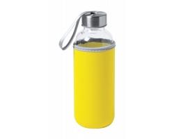 Skleněná sportovní lahev DOKATH s neoprenovým obalem, 400 ml - žlutá
