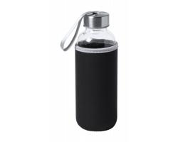 Skleněná sportovní lahev DOKATH s neoprenovým obalem, 400 ml - černá