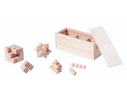 Sada dřevěných hlavolamů GENIUM v krabičce, 3 ks - přírodní