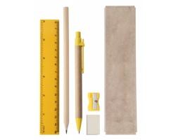 Sada školních potřeb GABON v papírové krabičce - žlutá / přírodní