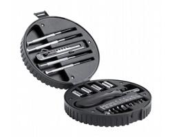 Sada nářadí WHEELS v plastovém obalu ve tvaru pneumatiky - černá