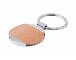 Kovový přívěsek na klíče VITOLOK s dřevěnou plochou - kruh