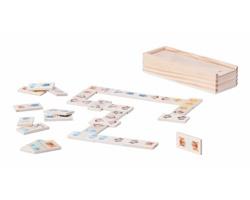 Dřevěné domino KELPET s obrázky zvířátek - přírodní