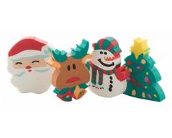 Sada mazacích gum FLOP s vánoční tematikou, 4 ks - vícebarevná