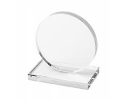 Kulatá skleněná trofej OWEN se skleněným podstavcem - transparentní