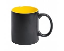 Keramický hrnek BAFY s barevným vnitřkem, 350 ml - černá / žlutá