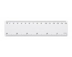 Plastové pravítko HEBE, 15 cm - bílá